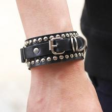 цена на imixlot Fashion Leather Bracelet for Women Brand Fashion Punk Wide Rivet Cuff Women Men Bracelet Jewelry Accessory
