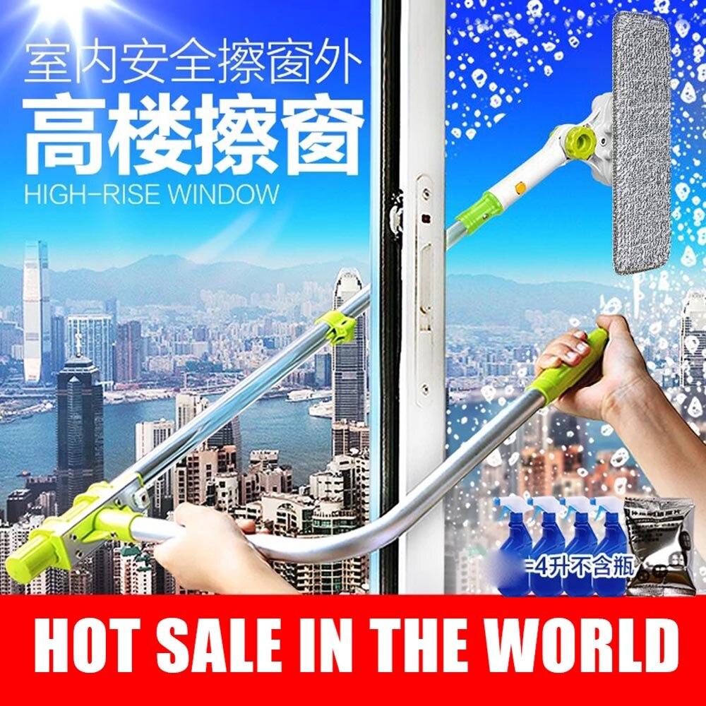 Brosse pour fenêtres télescopique éponge chiffon vadrouille nettoyant fenêtre maison outils de nettoyage hobot brosse pour laver les vitres poussière nettoyage