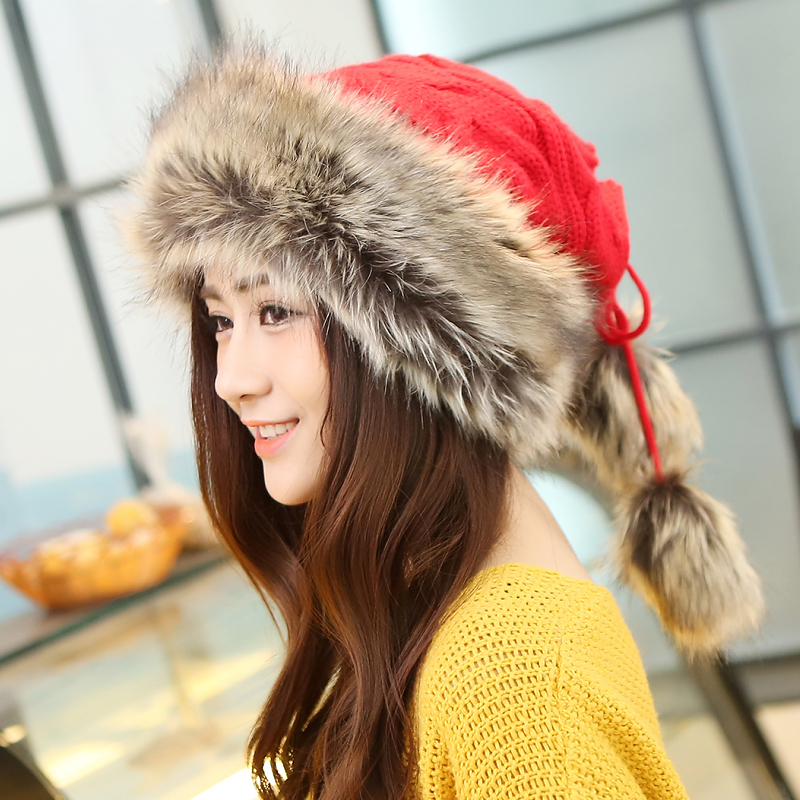 2017 Winter Hat Women Fur Cap Warm Plus Velvet Dual Use Hats For Women Thicken Knitting Caps Ladies Winter Beanie Wool Hat 2017 new wool grey beanie hat for women warm simple style bad hair day knitting winter wooly hats online ds20170123 x24