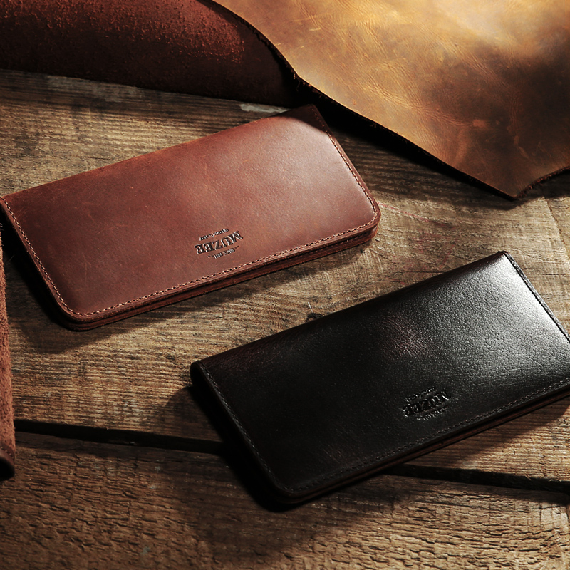 Muzee New Retro Crazy Horse Leather Men Wallet Handmade Leather Hand Bag Long Genuine Leather Wallet Ticket Holder gathersun the secret life of walter mitty retro wallet handmade custom vintage genuine wallet crazy horse leather men s purse