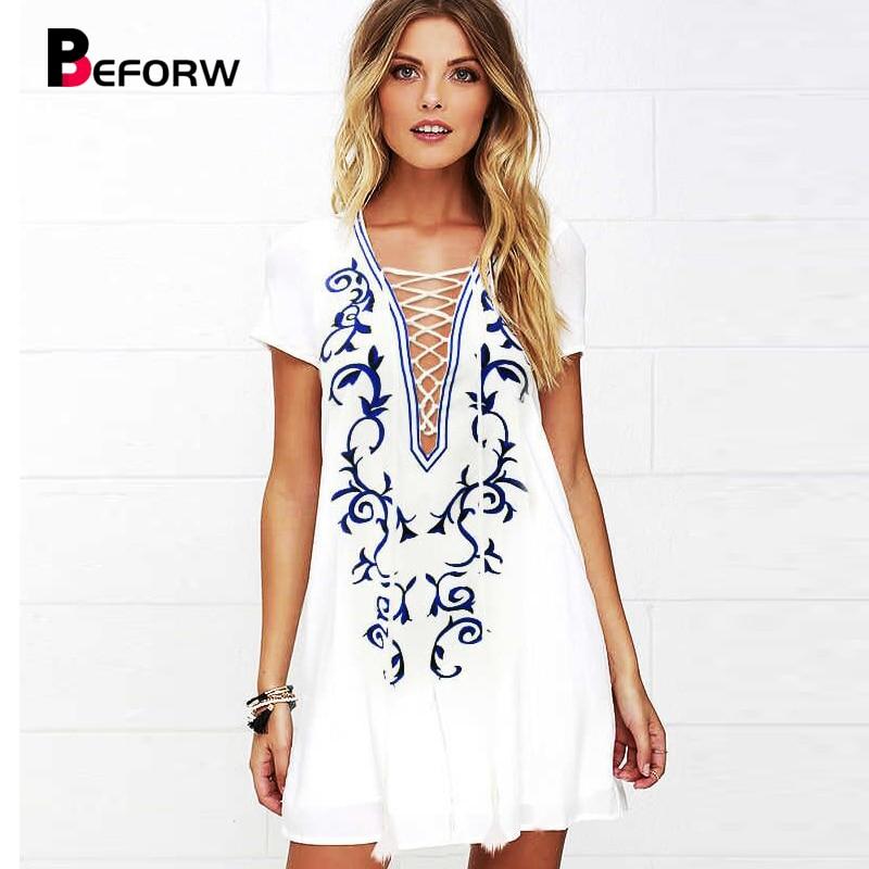 BEFORW kvinnor klänning djup v krage tryckt chiffong kort ärm vita lösa klänningar stor storlek kvinnor kläder casual mini klänning