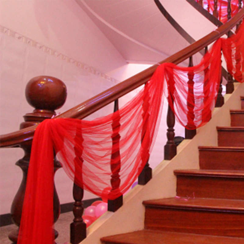 Us 6 49 50 Off Wedding Stair Decoration Tulle Yarn Flower Artificial Diy Decorative Room Veils Crafts For Festival Party Decor In