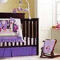 8 peça de algodão do bebê crib bedding set, qualidade roxo coruja do bebê recém-nascido menina bedding, 100% algodão berço berçário bedding