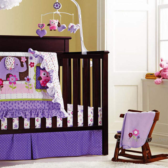 8 piece cotton baby crib bedding set quality purple owl newborn baby girl bedding - Baby Girl Bedding Sets
