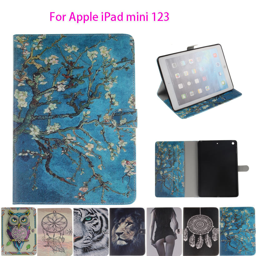 Fashion Painted Funda Case For Apple iPad Mini 1 2 3 Smart Case Cover lion Owls Tiger animal Ultra Slim Silicone Leather Shell smart tiger