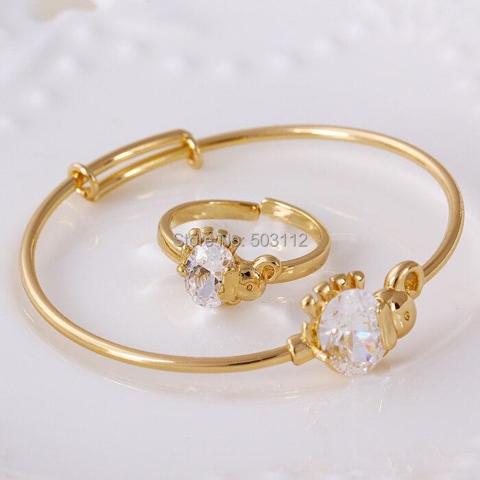 Elephant 18k Yellow Gold Filled Gf Lab Diamonds Baby Kids