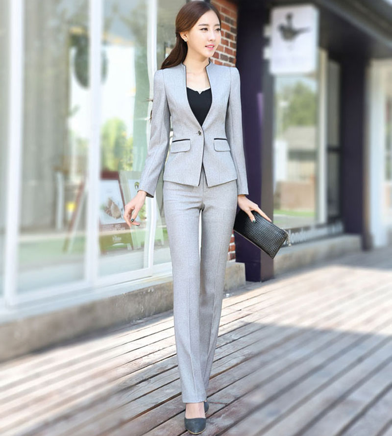 1af99c0439fb0 2016 Spring Autumn Women Interview Formal Work Office Long Sleeve Pant Suits  OL Slim V-Neck One Button Business Suit W116