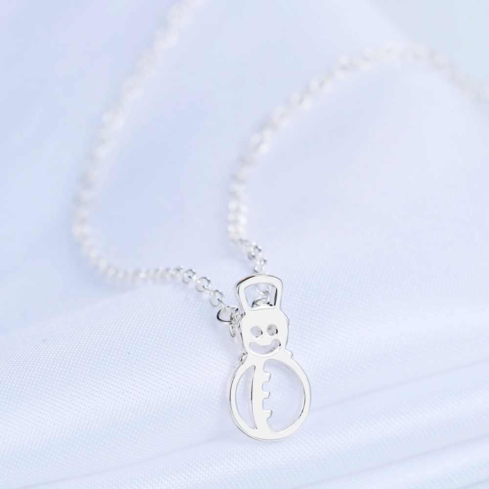 Chandler 10 sztuk srebra złota płyta Snowman wisiorek naszyjnik dla kobiet piękny moda zima Bling Kid prezent hurtownie Drop Shipping