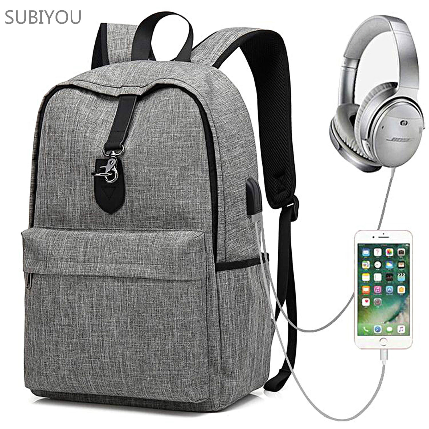 New School Season Backpack Gray USB Charge 15.6 Inch Computer Knapsack Schoolbag Laptop Bag Men Business Travel Working Knapsack ozuko multi functional men backpack waterproof usb charge computer backpacks 15inch laptop bag creative student school bags 2018