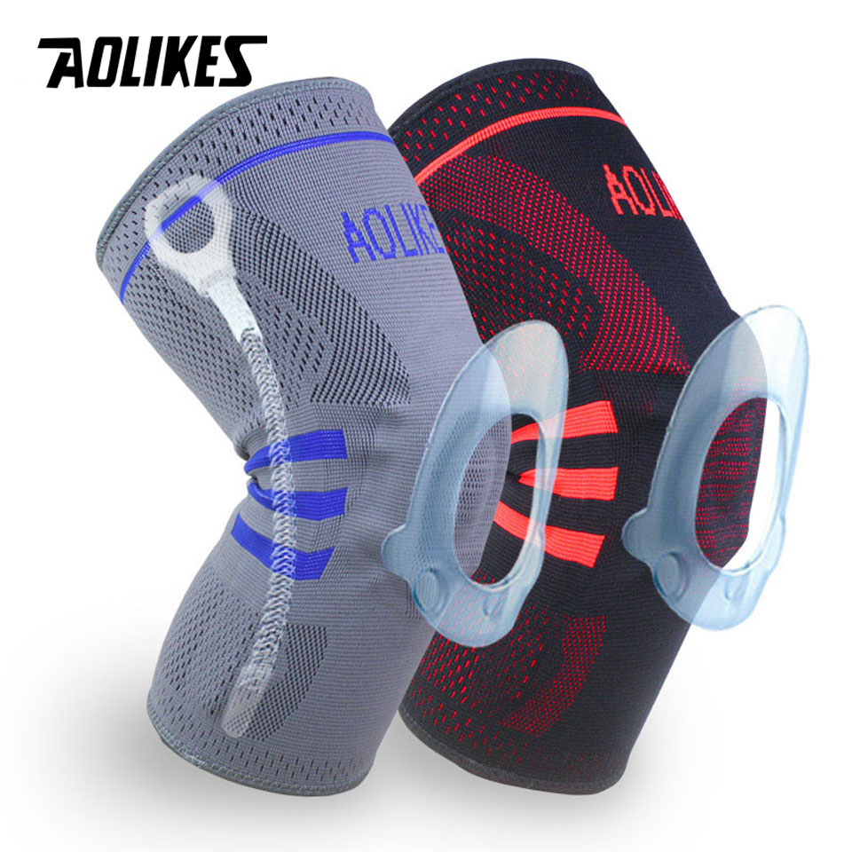 AOLIKES 1PCS Fitness Running Knee Support Protect Gym Sport Braces Kneepad Elastic Nylon Silicon Padded Compression Knee Pad 1pcs fitness running cycling knee support braces elastic nylon sport compression volleyball basketball knee pad sleeve for men