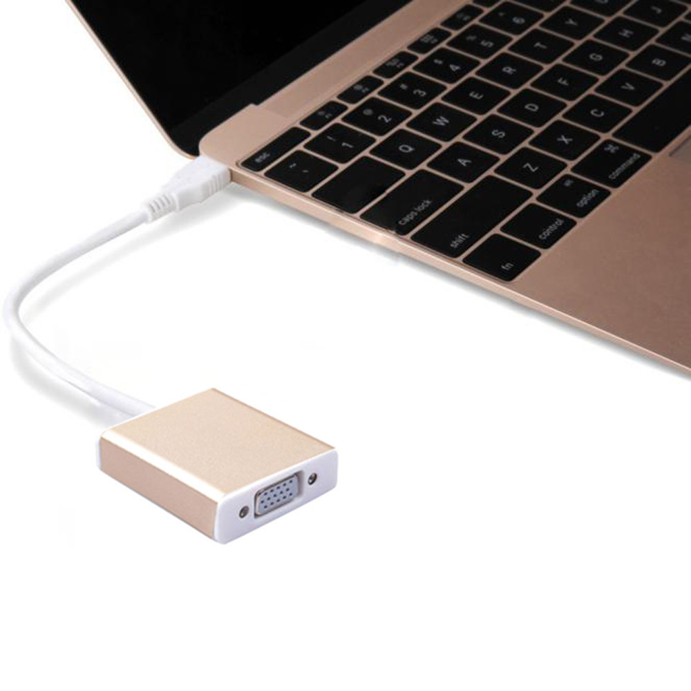 Best Price USB 3.1 Type C USB-C to VGA Adapter VGA Converter for Macbook 12 inch Gold best price 5pin cable for outdoor printer