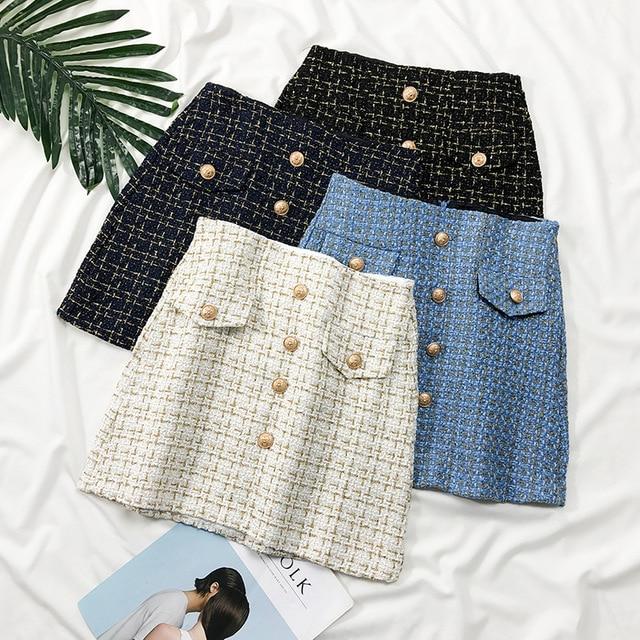Bright Silk A Line Short Skirt Women Autumn Winter High Waist Plaid Button Skirts Casual Slim Female Skirt Bottoms Faldas 2018