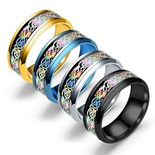 Newest Stainless Steel Colorful Musical Notes Pattern Ring Unisex Fashion Finger Jewelry