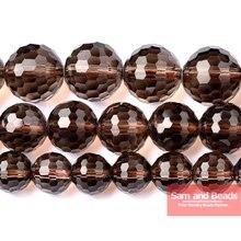 """Натуральный камень граненый дымчатый черный кварц Свободные Круглые бусины 1"""" 6,8, 10,12 мм выбрать размер SQB02"""