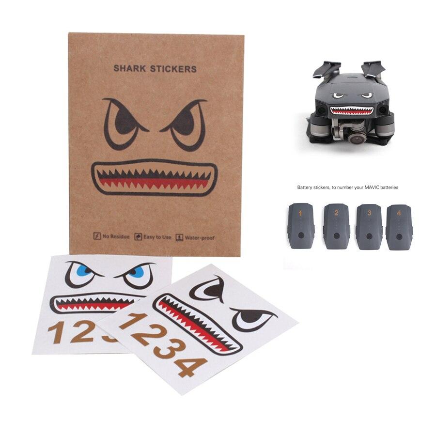 2 pcs Tubarão Adesivos para DJI Mavic Pro e Números para Baterias - Câmera e foto
