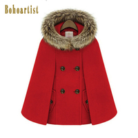 Bohoartist Women Hooded Fur Collar Cape Double Breasted Front Pocket Winter Loose Street Coat Woolen Female Boho Poncho Button