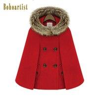 Bohoartist Women Hooded Fur Collar Cape Double Breasted Front Pocket Winter Loose Street Coat Woolen Female Boho Poncho Button