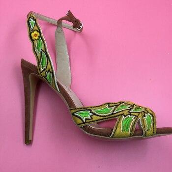 Embroidery Fabric Women Sandal High Heels Open Toe Stilettos Heels For Ladies Plus Size 15 Shoes Women Summer Style 2016