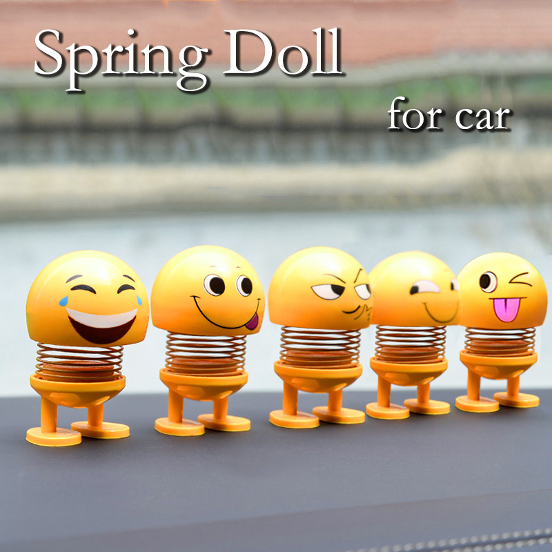 Image 1 - Car Shaking Sound Celebrity Inspired Spring Shook His Head Doll Expression Package Cute Creative Car Ornaments Styling Garnish-in Interior Mouldings from Automobiles & Motorcycles