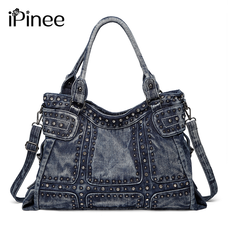 IPinee винтажный дизайн Модная Джинсовая женская сумка джинсовая сумка через плечо сумки для девочек Сумка через плечо женская сумка-мессендж...