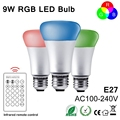 NEW E27 RGB LED Lamp 9W LED RGB Bulb Light Lamp 110V 220V Remote Control 16 Color Change led holiday decorations