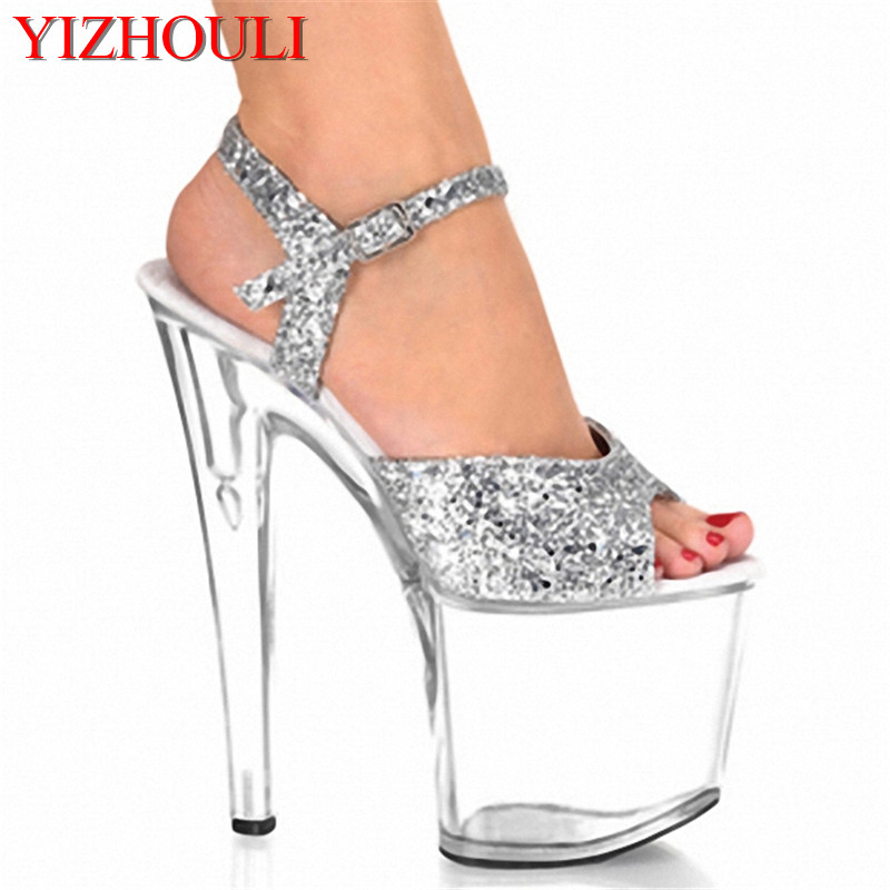 20CM Platform Crystal shoes 8 inch high heel shoes sexy women fashion Exotic Dancer shoes silver party shoes 20cm unusual high heel shoes silver 8 inch high heel gladiator sandals crystal platform slippers made in china sexy rome shoes