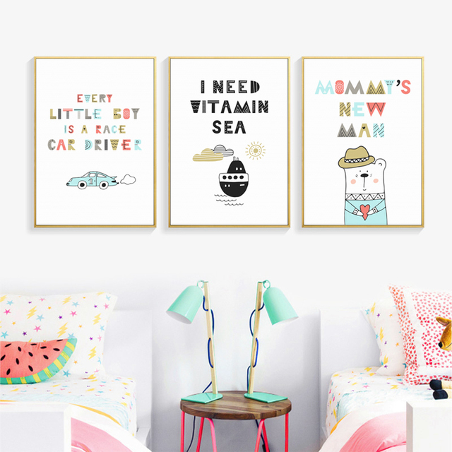 Cute Cartoon With Sweet Inspirational Phrase Canvas Painting Posters And Prints Pictures Wall Art Children S Bedroom Home Decor