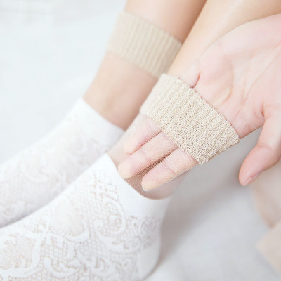 12 Pairs Transparent Crystal Harajuku Goth Punk Series Cool Essential Flower Hollow Thin Short Socks Women Elastic Socks