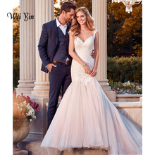 wei yin weiyin White Mermaid Wedding Dress Court Train
