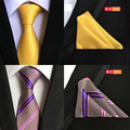 A cuadros de seda para hombre traje corbata Jacquard boda teje lazos para hombre Pocket Square pañuelo para hombre Tie Set