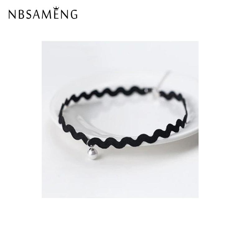 NBSAMENG 100% 925 Sterling Silver Christmas Gift Clavicle pearl necklace Black wavy rope Simple  Chain For Women Girl Jewelry