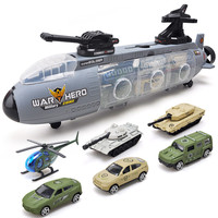 Ling speed children's toy taxiing warship submarine with alloy car military car tank model boy gift