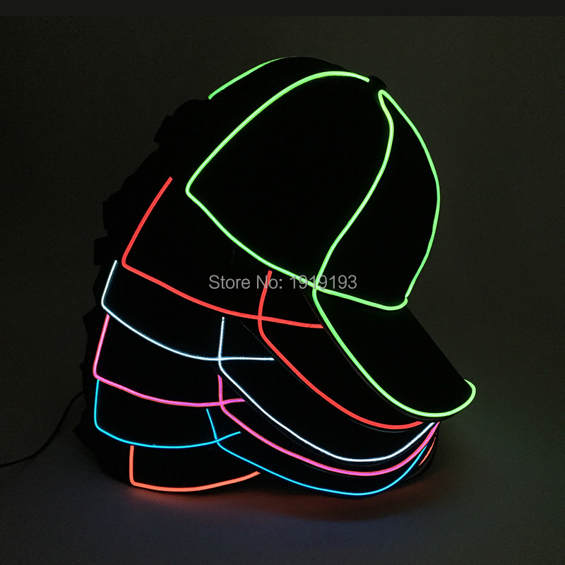 DC1.5V Bright EL Wire Cold Light Party Dance Jazz Hat Neon Led Bulbs Fluorescent Costume Flickering Cap for Summer Sport Meet 10 colors neon led bulbs luminous led light 3d queen letter couples cap el wire glowing rope tube outdoors sport hat as gift