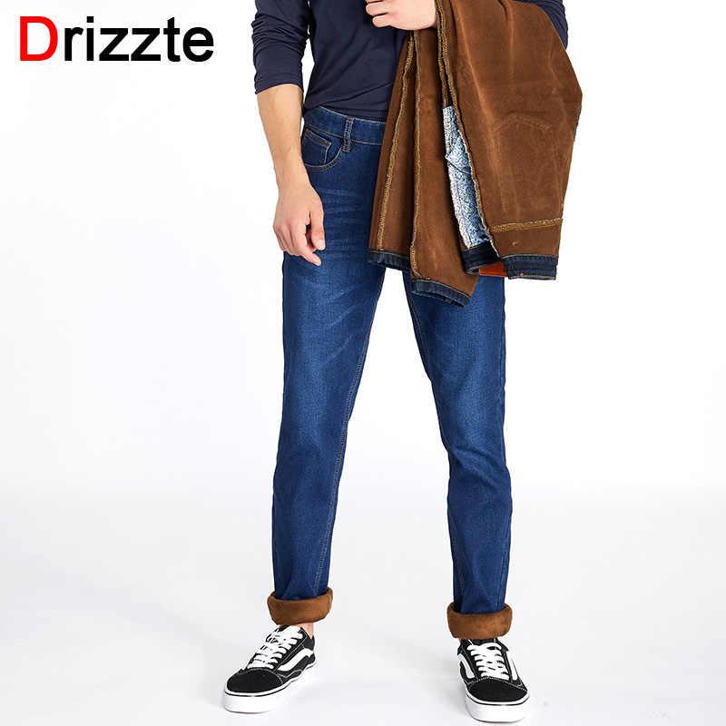 c5056cb12df6 Drizzte Jeans Mens Winter Warm Fleece Flannel Lined Stretch Black Blue Denim  Trousers Pants Size 28