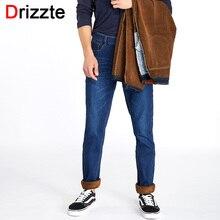 Drizzte jeans herren winter warme fleece flanell gefüttert stretch schwarz blau denim-hosen hosen größe 28-42 marke jean männer