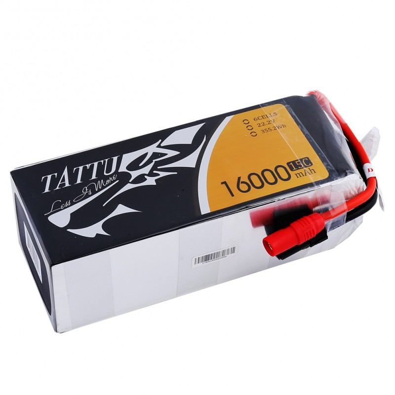 TATTU Lipo Battery 6s 16000mAh 22.2V Lipo Akku 15C for S800 S1000 Lipo Battery Pack EC5 Plug Quadcopter UAV Drones