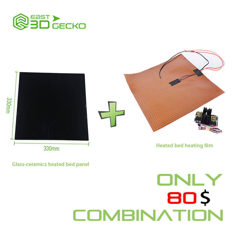 Glass-ceramics heated bed panel+heated bed heating film discount package 3d printer um2 heating bed heated glass platform glass fixed clip adjust device for ultimaker2 spring m3 screw 3sets