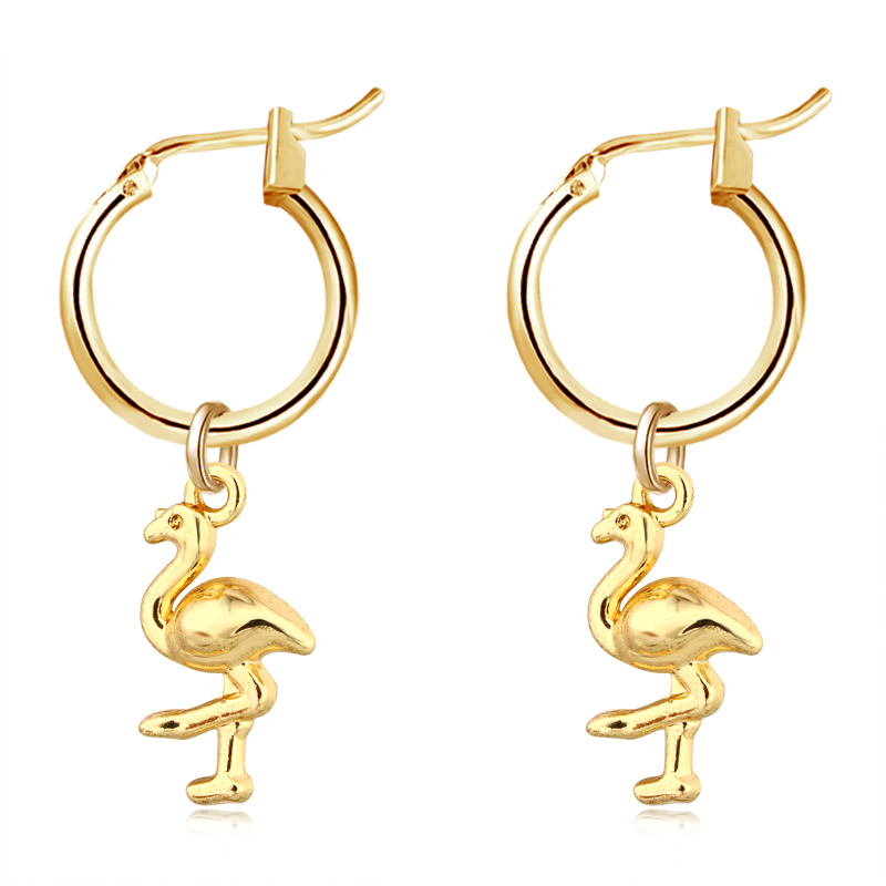 1 Para Europäischen Neue Trend Kleine Nette Flamingo Hoop Ohrringe Mit Anhänger Gold Farbe Mode Ohrringe Als Partei Schmuck E536-t2 Letzter Stil