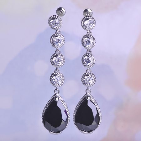 De alta qualidade do Vintage Teardrop oscila brincos strass Mujer preto Jewerly declaração de cristal pingente de presentes Joyas