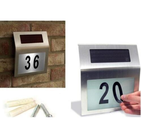 DZ T Led Solar Light Outdoor Stainless Solar Powered Doorplate Lamp House Number Light outdoor lighting hot sale