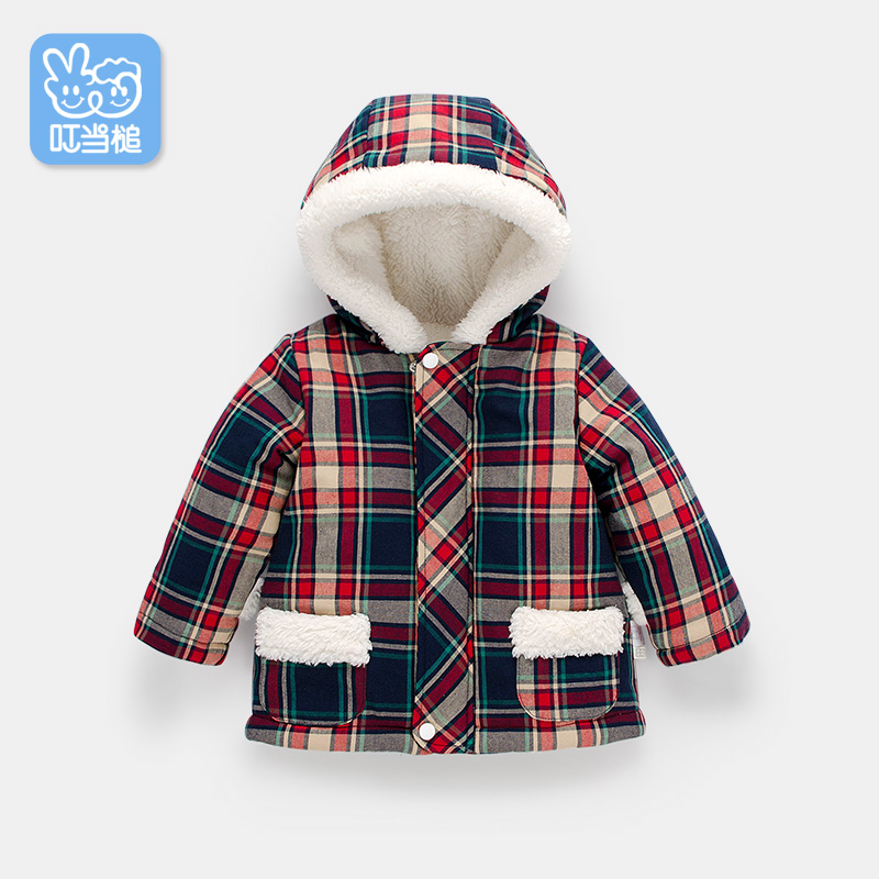 Dinstry Baby hooded jacket boy and girl new arrivel autumn and winter plaid jacket baby warm cotton-padded coat winter jacket men warm coat mens casual hooded cotton jackets brand new handsome outwear padded parka plus size xxxl y1105 142f