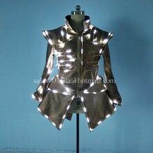 Hot Sale 5 Pcs LED Luminous Waiter Uniforms Women Costume Growing Light Up Halloween DS DJ Party Suit For Women Stage Clothes