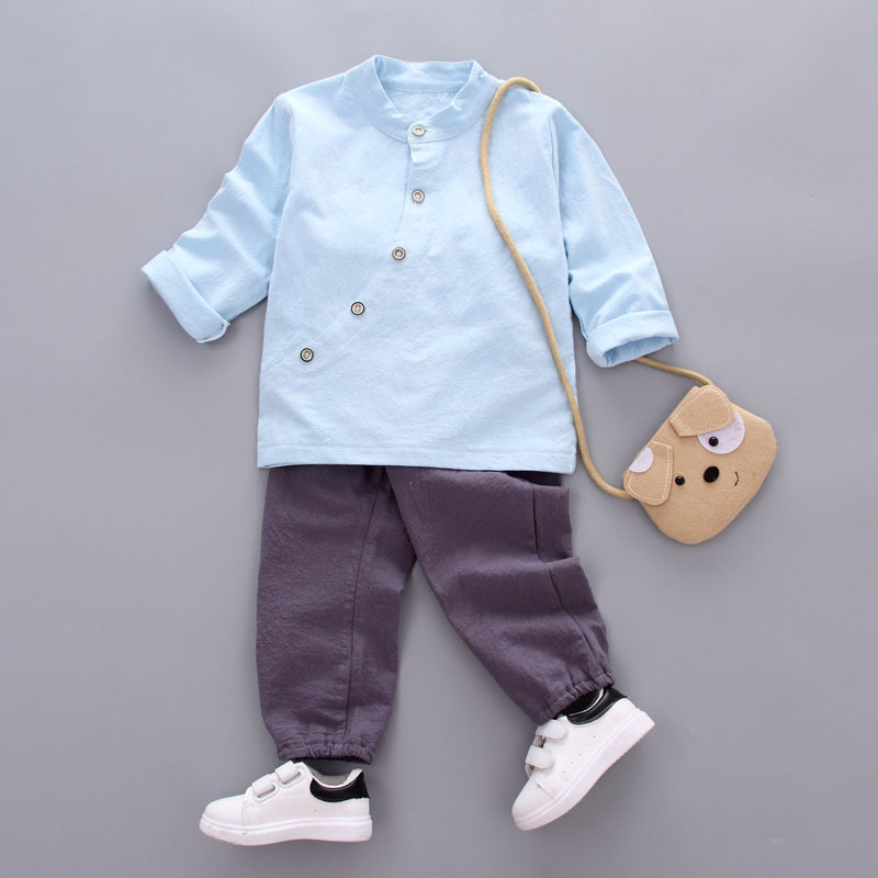 DapChild 2017 Kids Clothes Set Baby Boys Chinese Style Cotton Linen Children Casual Suits Long Sleeve Shirt Fashion Buttons 2017 new boys clothing set camouflage 3 9t boy sports suits kids clothes suit cotton boys tracksuit teenage costume long sleeve