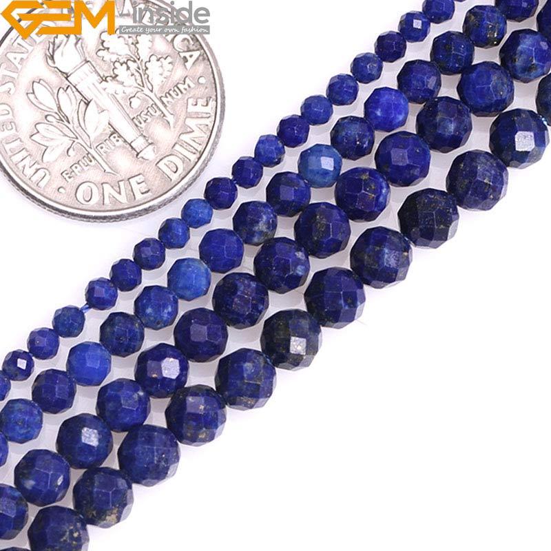 """2/3/4/5mm Runden Facettierten Spacer Natürliche Blau Lapis Lazuli Edelstein Semi Kostbare Perlen Für Schmuck Machen Strang 15 """"großhandel"""