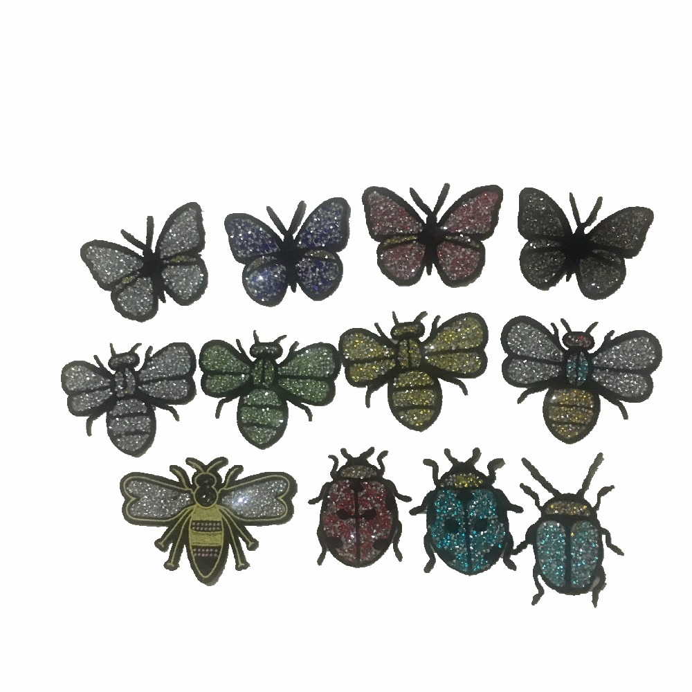 5PCS 3D Rhinestones Lady Bugs Butterfly Patches Iron on Embroidered Patch Bee Beading Appliques Patch DIY Garment Accessories