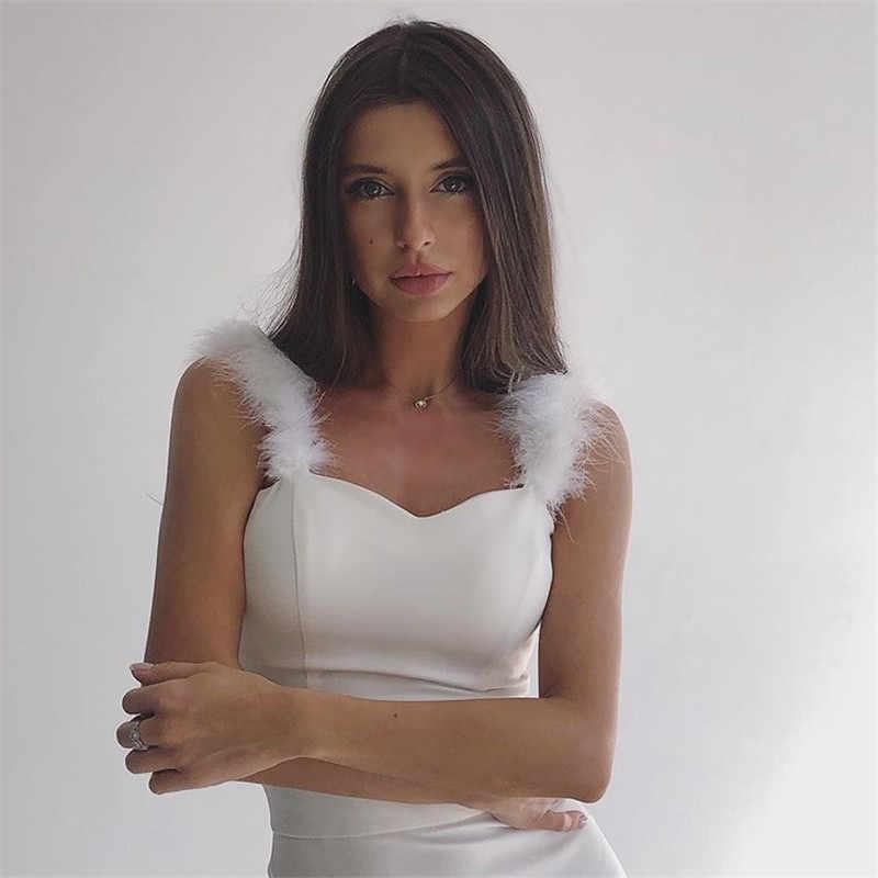 高品質白 Vestidos ストラップノースリーブ毛深いボディコン女性包帯ドレスナイトクラブドレスセレブイブニングパーティードレス