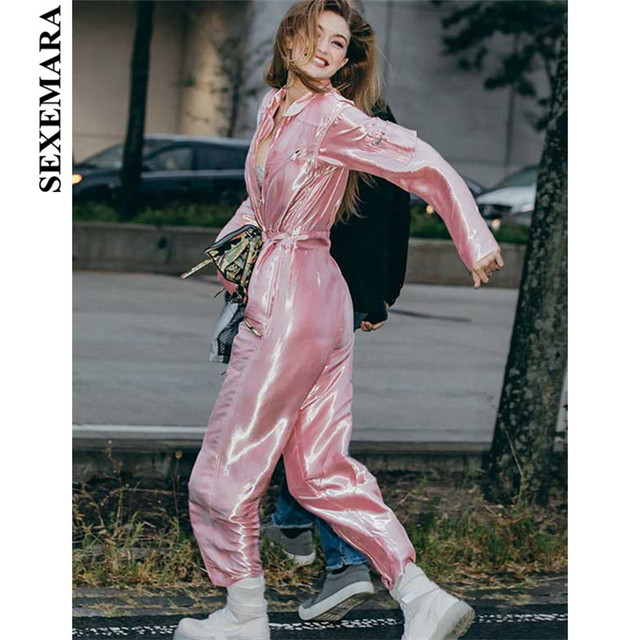 891addeb7db BOOFEENAA Hot Pink Jumpsuit Runway Streetwear Zipper Pockets Sash High  Waist Sexy Overalls Celebrity Pants Women