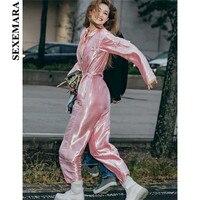 BOOFEENAA Hot Pink Jumpsuit Runway Streetwear Zipper Pockets Sash High Waist Sexy Overalls Celebrity Pants Women Rompers C87CG04