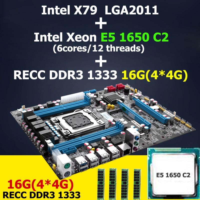 HUANAN X79 LGA 2011 motherboard CPU RAM combos Intel Xeon E5 1650 C2 CPU RAM 16G(4*4G) DDR3 REG ECC X79 ATX motherboard lga 2011 x79 series motherboard soldering cpu socket r with tin balls