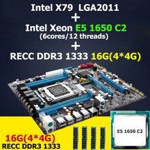 Huanan X79 LGA 2011 материнская плата Процессор Оперативная память комбинации Intel Xeon E5 1650 C2 Процессор Оперативная память 16 г (4*4 г) DDR3 ECC Reg X79 материнская плата atx